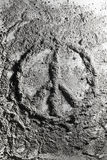 Peace sign made of ash Royalty Free Stock Image