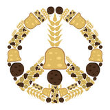 Peace sign. Made of bakery goods Royalty Free Stock Images