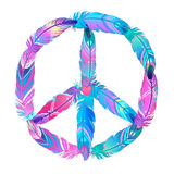 Peace sign made of colored bird feathers. Hippie symbol. Sixties Stock Image