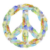 Peace sign made from feather. Peace sign made from watercolor feather. Boho style Royalty Free Stock Photography