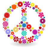 Peace sign made of flowers. Peace sign or symbol made by colorful flowers with shadow on white Vector Illustration