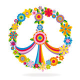 Peace sign made of flowers. Vector illustration Stock Photography