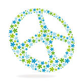 Peace sign made of flowers. Vector illustration Stock Image