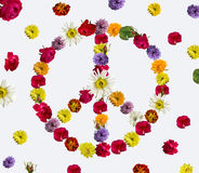 Peace sign made of fresh flowers. Stock Images