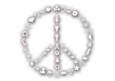 Peace sign made of icons Royalty Free Stock Photos