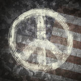 Peace sign on military background Stock Photo