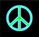 Peace and Love sign neon on Black. Peace sign neon on black glowing for print The peace & love symbol made of multicolored liquid on black and framed with stock photo