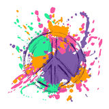 Peace Sign Over Colorful Grunge Background. Royalty Free Stock Photo