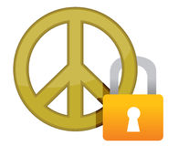 Peace sign with a padlock illustration Royalty Free Stock Photo