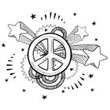Peace sign pop explosion sketch Royalty Free Stock Photo
