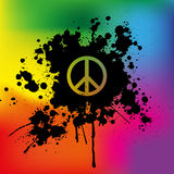 Peace sign on rainbow background Royalty Free Stock Photo