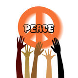 Peace sign with reaching hands. Group of people of different race reaching for peace sign Royalty Free Stock Image
