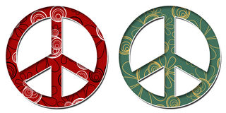 Peace Sign Red Black Green Golden Floral Royalty Free Stock Image