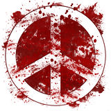 Peace Sign Red Messy Blot. Peace sign in red bloody messy blot on white background royalty free illustration