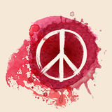 Peace sign on red water color ink splat background. Peace sign brush stroke on red water color ink splat background Royalty Free Stock Images