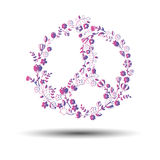 Peace sign symbol flower vector pacifism circle drawing abstract Stock Photos