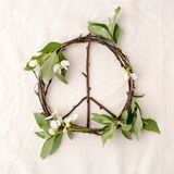 Peace sign, symbol of natural material - flowers, leaves, wooden sticks on tissue white background. Peace sign, symbol of natural material - flowers, leaves Royalty Free Stock Photos