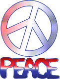PEACE sign and text. PEACE sign in Red White and Blue gradient dots with hand drawn peace text Stock Photography