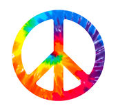 Peace sign. Tie dye peace sign on white