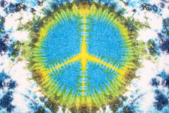 Peace sign tie dyed pattern on cotton fabric for background. Stock Photography