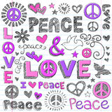 Peace Signs & Love Sketchy Doodles Vector. Peace & Love Sketchy Notebook Doodles Design Elements with Peace Signs and Doves on Lined Sketchbook Paper Stock Image