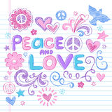 Peace Signs & Love Sketchy Doodles Vector. Peace & Love Sketchy Notebook Doodles Design Elements with Peace Signs and Dove on Lined Sketchbook Paper Background vector illustration