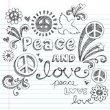 Peace Signs & Love Sketchy Doodles Vector. Peace & Love Sketchy Notebook Doodles Design Elements with Peace Signs and Doves on Lined Sketchbook Paper Background Stock Photo
