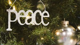 Peace and Silver Ball Ornament Stock Photography