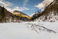 Peace of snow. In Italy, near Macugnaga, ossola Valley Royalty Free Stock Photos