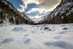 Peace of snow. In Italy, near Macugnaga, ossola Valley royalty free stock image