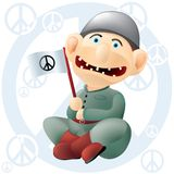Peace soldier. Funny peace soldier, layered and grouped illustration for easy editing Stock Photos