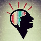Education creative thinking mind retro grunge style. Illustration of a creative thinking brain mind grunge retro background famous quote. the head and gear work Royalty Free Stock Photos