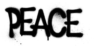 Peace sprayed graffiti word in black on white Stock Image