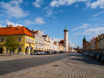 Peace Square with Tower of Domazlice Stock Photos
