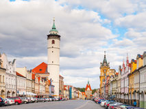Peace Square with White Tower of Domazlice on sunny day, Czech Republic Stock Photo