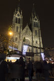 2014 - Peace squares Christmas markets in Prague at night with people shopping there Royalty Free Stock Photo