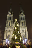 Peace squares Christmas markets in Prague at night Royalty Free Stock Photo