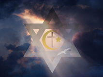 Peace. Star of David, Muslim Crescent and Cross stock illustration