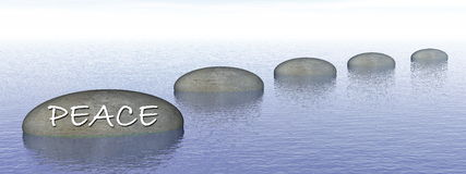 Peace on stone - 3D render Royalty Free Stock Image