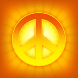 Peace symbol. Shiny golden peace theme with shining sign and stripes Stock Illustration