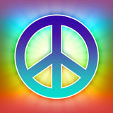 Peace symbol. Rainbow colorful shiny peace hippies sign with shining stripes Vector Illustration