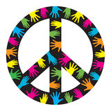 Peace symbol. Vector isolated  peace hippies symbol with colorful hands on black background Royalty Free Stock Photos