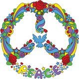 Peace symbol. With flowers and stars pop-art style Royalty Free Stock Photos