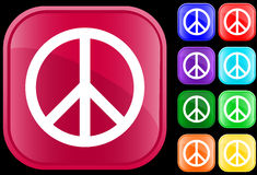 Peace symbol. On shiny square buttons Royalty Free Stock Images