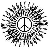 Peace symbol on abstract black decoration isolated Stock Photo