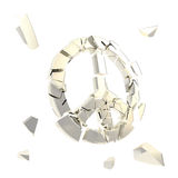 Peace symbol  broken into tiny chrome pieces isolated Stock Photo