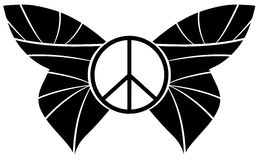 Peace symbol with butterfly wings isolated Royalty Free Stock Photography