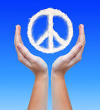 Peace symbol from clouds Royalty Free Stock Photo