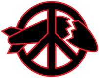 Peace symbol destroying a missile vector graphic design icon. vector illustration