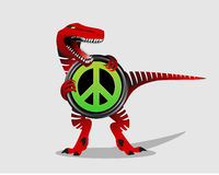 Peace symbol with dinosaur. Peace Sign. T-rex. Royalty Free Stock Image
